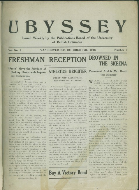 1918 - The First Edition of the Ubyssey