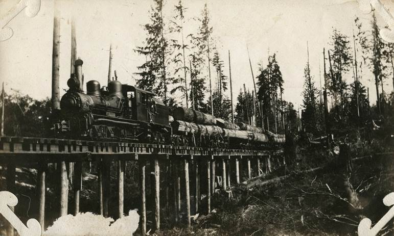 A trainload of logs, photographer unknown, 1910, silver gelatin print, Uno Langmann Family Collection of B.C. photographs