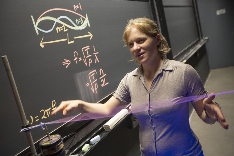 Jenny Hoffman, Associate Professor of Physics, was awarded the 2012 Fannie Cox Prize for Excellence in Science Teaching explains her research by performing an demonstration inside the Science Center at Harvard University. Kris Snibbe/Harvard Staff Photographer