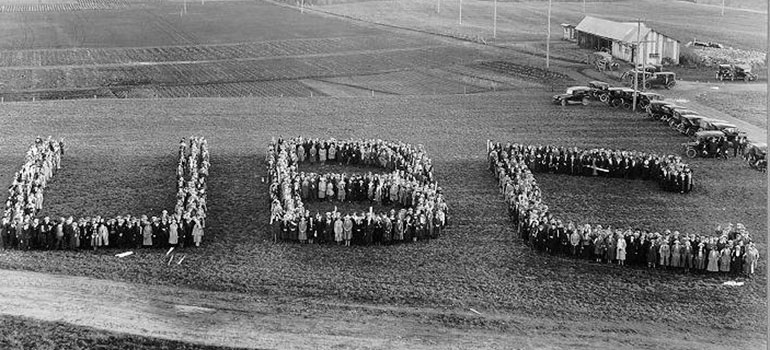 "1,200 UBC students involved in the ""Great Trek"" formed the letters ""UBC"" in 1922."