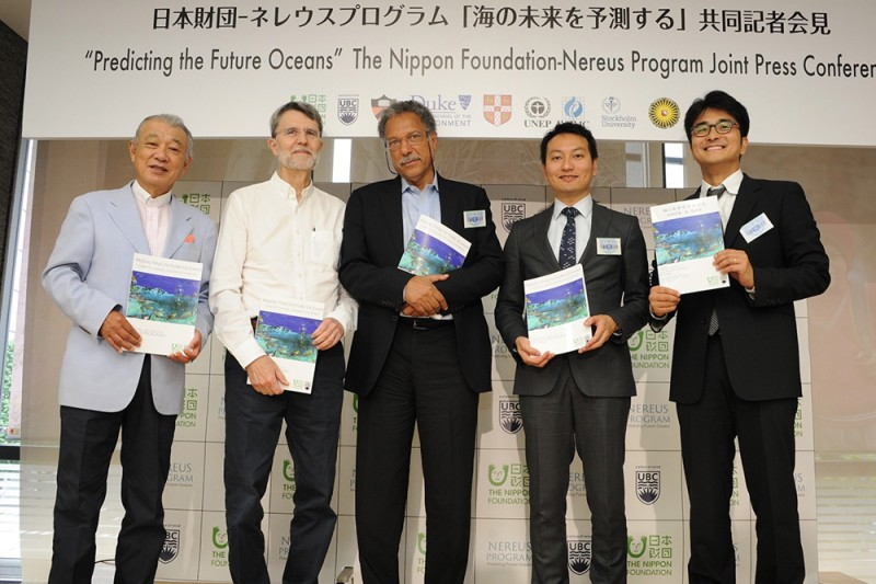 Left to right: Yohei Sasakawa (Chairman, The Nippon Foundation), Professor Jorge Sarmiento (Princeton University), Professor Daniel Pauly (University of British Columbia), Associate Professor William Cheung (Nereus Program Co-director) and Dr. Yoshitaka Ota (Nereus Program Co-director)
