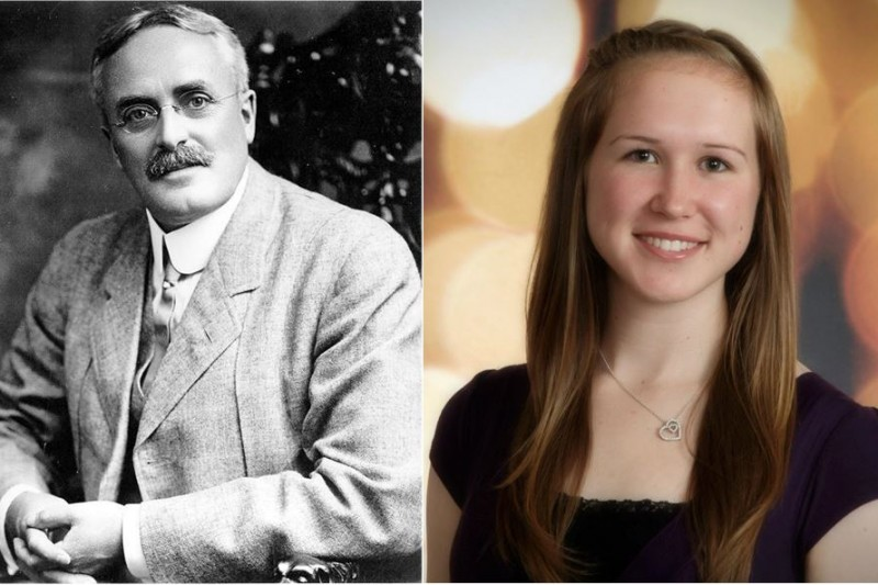 Left: Dr. Frank Wesbrook, UBC's First President (1913-1918), Photo courtesy of University Archives; Right: Ms. Alysha Connor, Current UBC Undergraduate Student and Great-Great Granddaughter of Dr. Frank Wesbrook