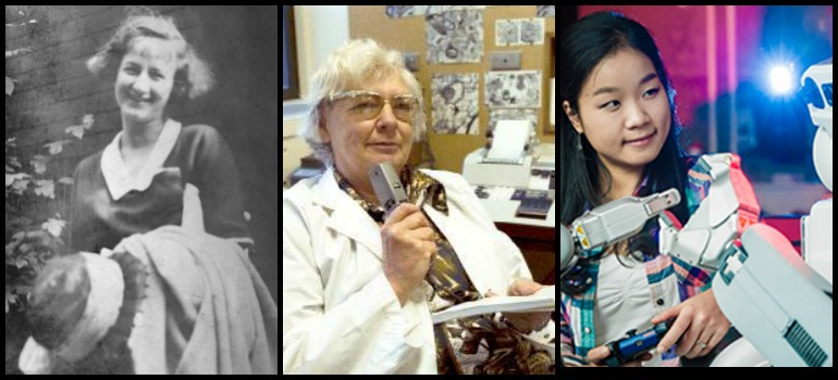 From left: Rona Hatt, Edith McGeer, AJung Moon. Photos (from left): University of British Columbia Archives, Photo by Arthur Evan Boss [UBC156.1/158]; University of British Columbia Archives, Photo by Jim Banham [UBC 41.1/521]; Martin Dee